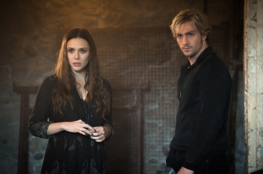 Marvel's Avengers: Age Of Ultron..L to R: Scarlet Witch/Wanda Maximoff (Elizabeth Olsen) and Quicksilver/Pietro Maximoff (Aaron Taylor-Johnson)..Ph: Jay Maidment..?Marvel 2015