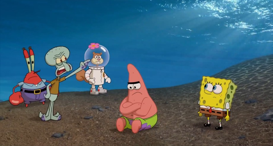 mr-krabs-squidward-sandy-patrick-and-spongebob-on-The-Spongebob-Squarepants-Movie-Sponge-out-of-Water